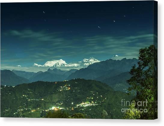 Kangchenjunga Canvas Print - Moon Lit Kanchenjungha Mountain Range Sikkim India by Rudra Narayan Mitra