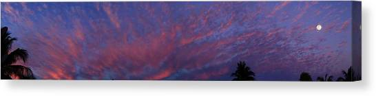 Canvas Print featuring the photograph Moon On Mirrored Sunset by R B Harper
