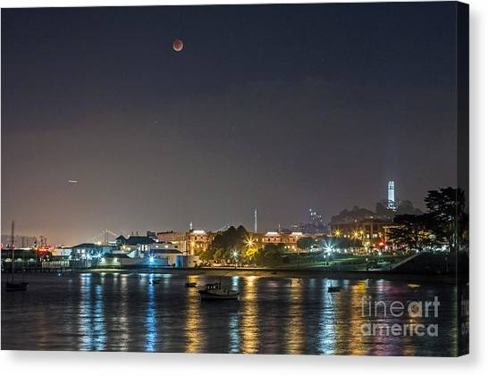 Canvas Print featuring the photograph Moon Over Aquatic Park by Kate Brown