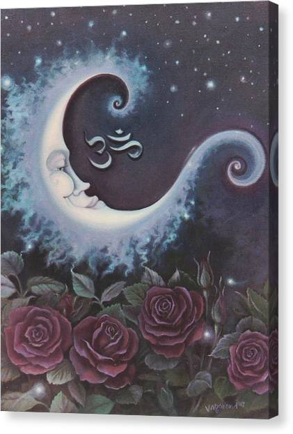 Moon Over Bed Of Roses Canvas Print
