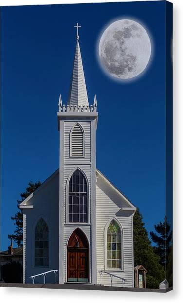 Bodega Canvas Print - Moon Over Bodega Church by Garry Gay