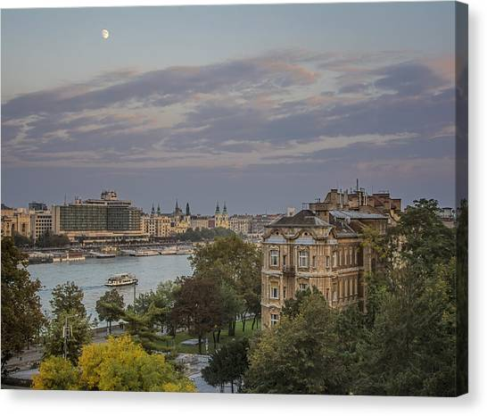 Danube Canvas Print - Moon Over Budapest by Joan Carroll