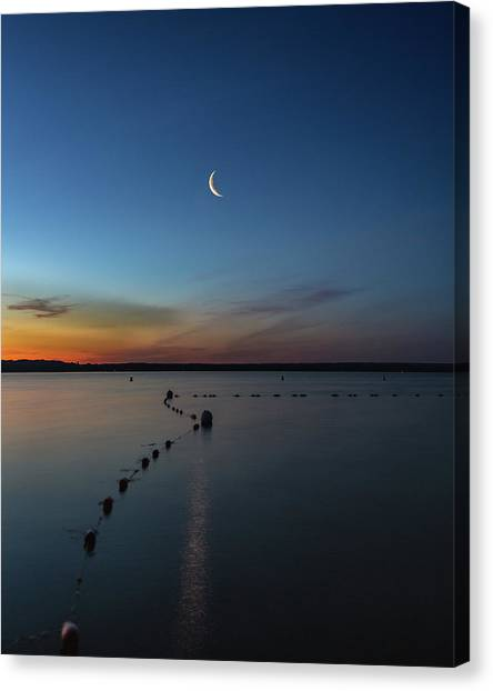Moon Over Cayuga Canvas Print