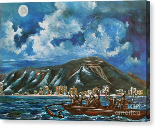 Moon Over Diamond Head Canvas Print