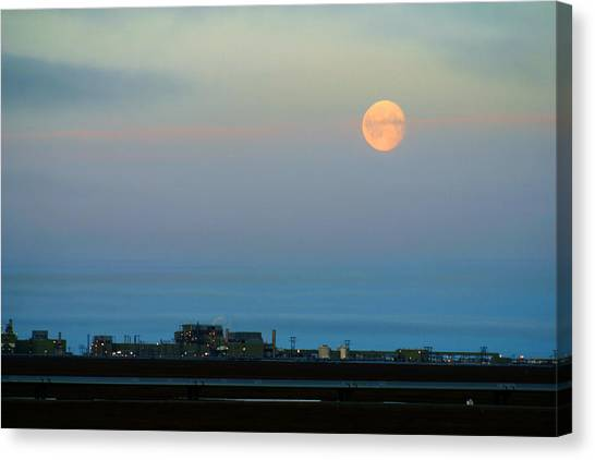 Moon Over Flow Station 1 Canvas Print
