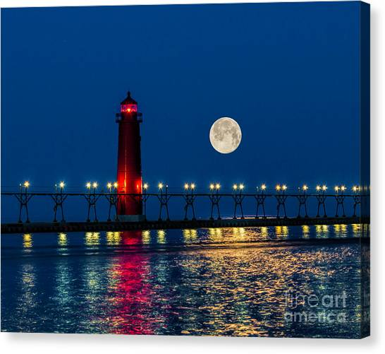 Moon Over Grand Haven Canvas Print