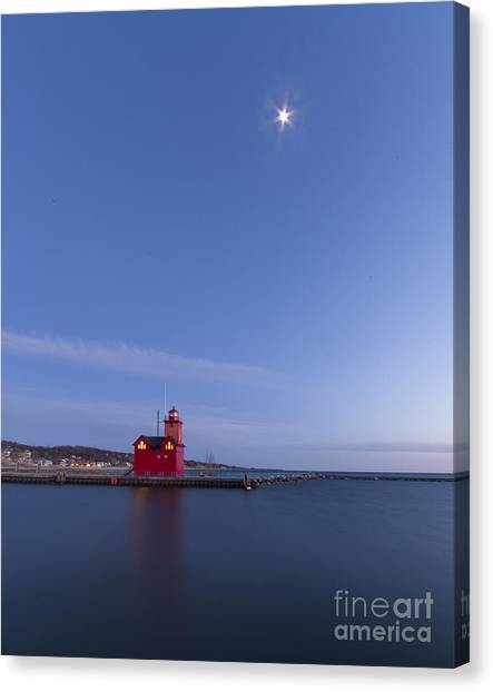 Big Red Canvas Print - Moon Over Holland Lighthouse And Channel by Twenty Two North Photography