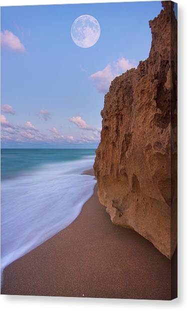 Moon Over Hutchinson Island Beach Canvas Print