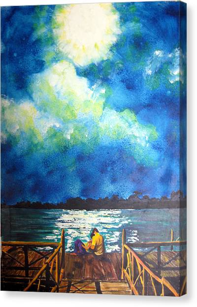 Moon Over Laguna De Perlas Canvas Print