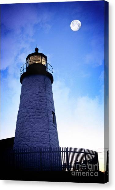 Canvas Print featuring the photograph Moon Over Lighthouse by Scott Kemper