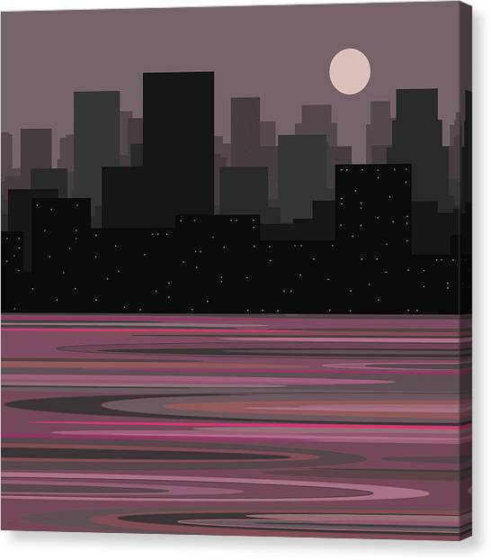 Moon Over Manhattan - A Different View Canvas Print