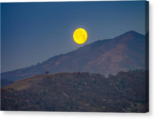 Moon Over Mt Diablo Canvas Print