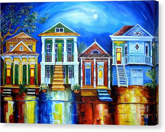 Shotguns Canvas Print - Moon Over New Orleans by Diane Millsap