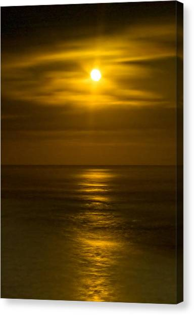 Moon Over Pacific Canvas Print by Dale Stillman