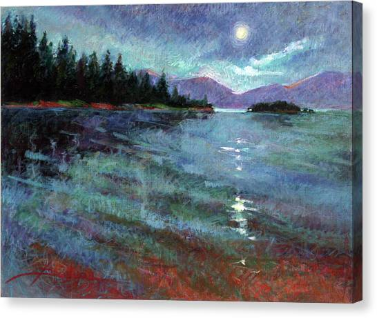 Moon Over Pend Orielle Canvas Print