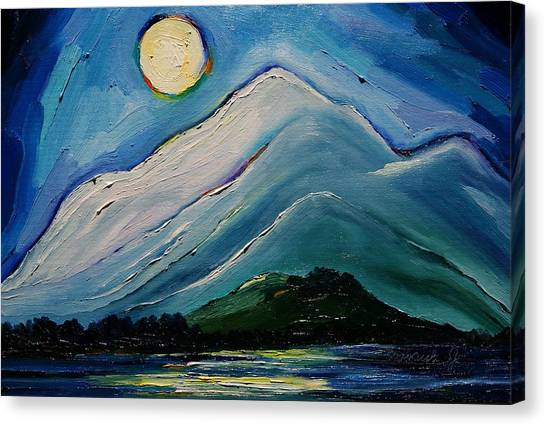Moon Over Pioneer Peak Canvas Print