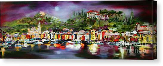 Moon Over Portofino Italy Oil Painting Canvas Print