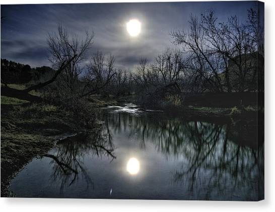 Moon Over Sand Creek Canvas Print