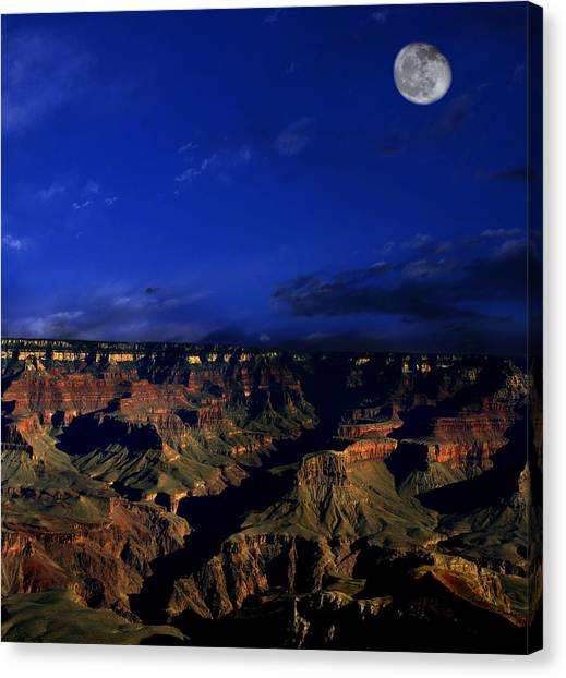 Moon Over The Canyon Canvas Print