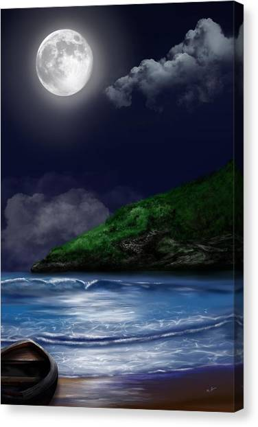 Moon Over The Cove Canvas Print