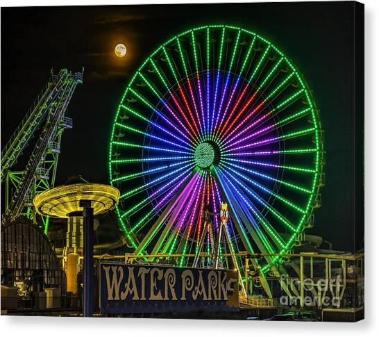 Moon Over The Ferris Wheel Canvas Print