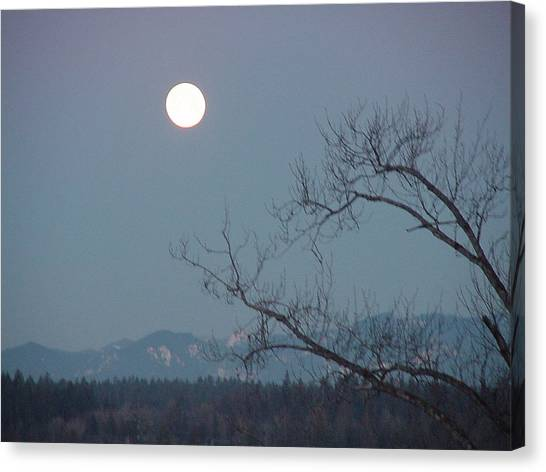 Moon Over The Olympics Canvas Print by Gregory Smith