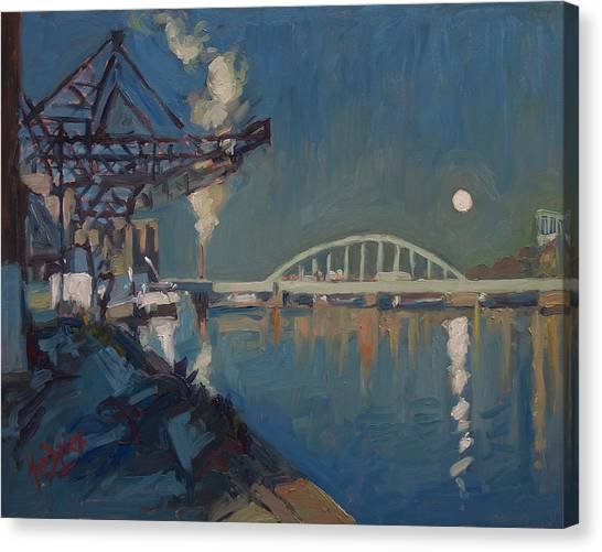 Canvas Print - Moon Over The Railway Bridge Maastricht by Nop Briex