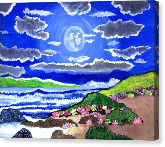 Moon Over The Tropics  Canvas Print
