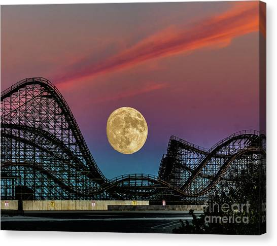 Moon Over Wildwood Nj Canvas Print