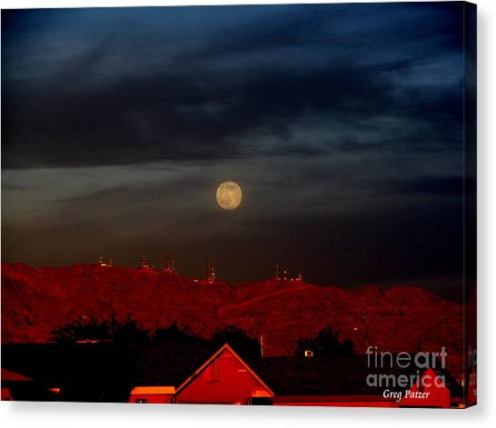 Moon Over Yuma Canvas Print by Greg Patzer