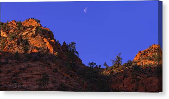 Moonrise Canvas Print - Moon Over Zion by Chad Dutson