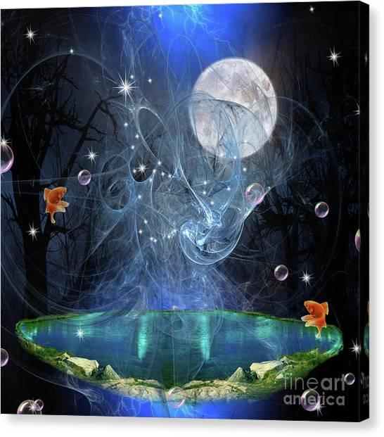 Portrait Canvas Print - Moon Pond by Prar Kulasekara