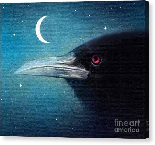 Moon Raven Canvas Print by Robert Foster