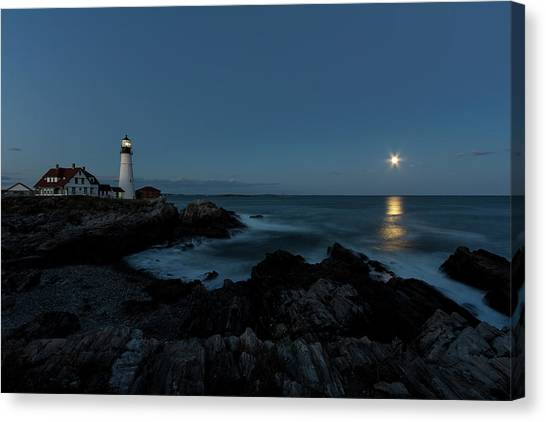 Moon Rise At Portland Headlight Canvas Print