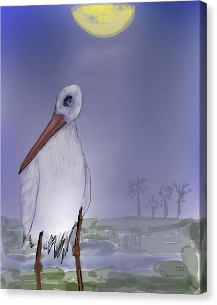 Moon Rise Becomes A Stork Canvas Print