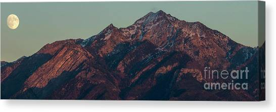 Canvas Print featuring the photograph Moon Rising Near Twin Peaks by Spencer Baugh