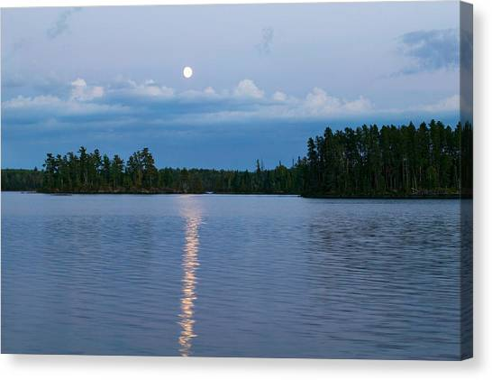 One Direction Canvas Print - Moon Rising Over Lake One, Water by Panoramic Images