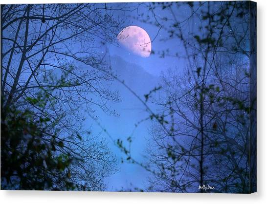 Moon Rising Over Mountain Canvas Print by Molly Dean