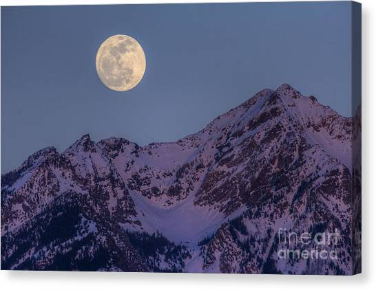 Moon Rising Over Twin Peaks Canvas Print