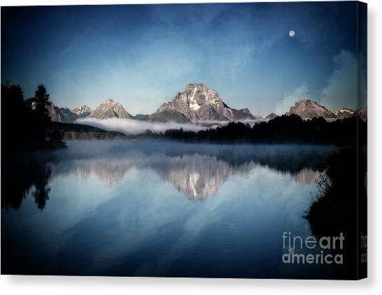 Canvas Print featuring the photograph Moonset by Scott Kemper