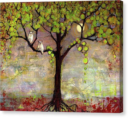 Acrylic Canvas Print - Moon River Tree Owls Art by Blenda Studio
