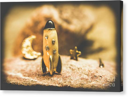 Mission Canvas Print - Moon Rocket At Space Station On The Dark Side by Jorgo Photography - Wall Art Gallery