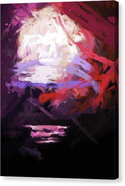 Moon Sky Pink Sea Canvas Print