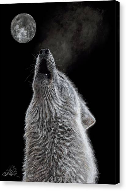Howling Wolves Canvas Print - Moon Song by Terry Kirkland Cook