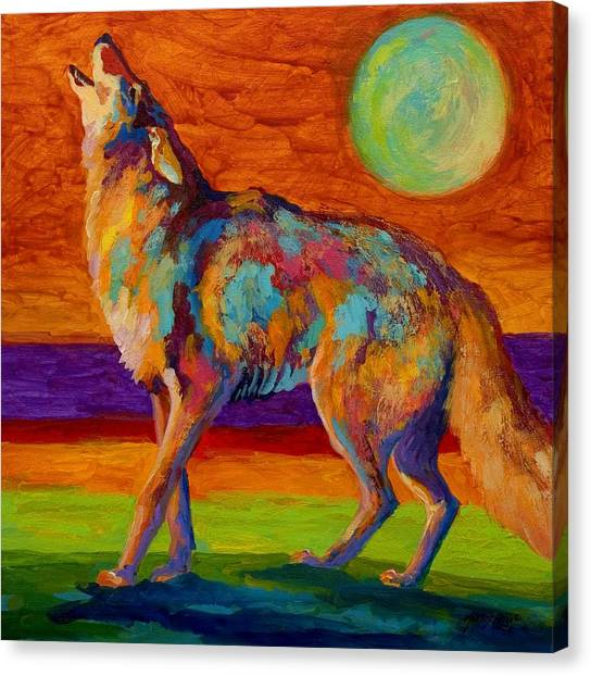 Wilderness Canvas Print - Moon Talk - Coyote by Marion Rose