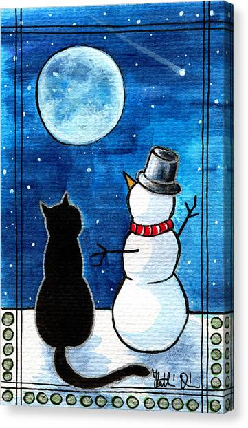 Moon Watching With Snowman - Christmas Cat Canvas Print