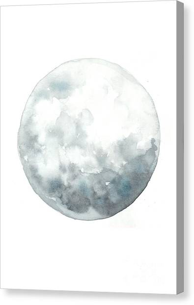 Moon Canvas Print - Moon Watercolor Art Print Painting by Joanna Szmerdt