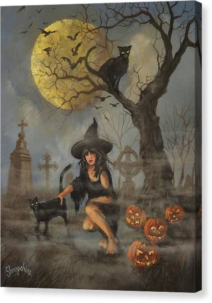Halloween Canvas Print - Moon Witch by Tom Shropshire