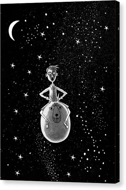 Child Drawing Canvas Print - Moonage Daydream  by Andrew Hitchen