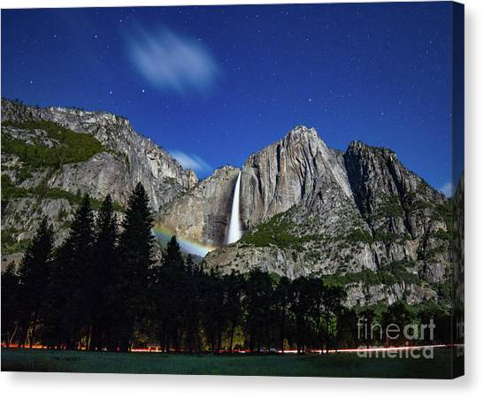 Moonbow And Louds  Canvas Print
